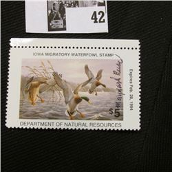 "1993 Iowa State Conservation Commission Migratory Waterfowl Stamp, VF, NH, Signed by the Artist ""May"