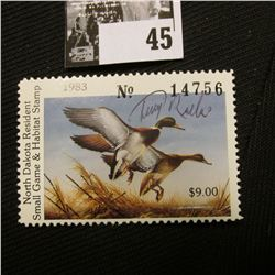 "1983 North Dakota Resident Small Game & Habitat Stamp, NH, Artist signed by ""Terry Redling""."