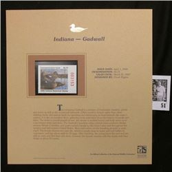 2006 Indiana Waterfowl $6.75 Stamp depicting Gadwall Ducks, Pristine Mint condition in plastic page