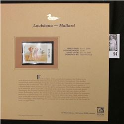 2006 Louisiana Waterfowl Conservation $5.50 Stamp depicting a Yellow Lab with Mallard Ducks in backg