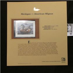 2006 Michigan Waterfowl $5 Stamp depicting American Widgeon Duck, Pristine Mint condition in plastic
