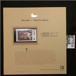2006 Nevada Duck $10.00 Stamp depicting Tundra Swan, Pristine Mint condition in plastic page with li