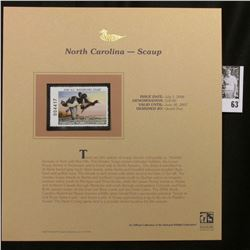 2006 North Carolina Waterfowl $10 Stamp depicting Scaup Ducks, Pristine Mint condition in plastic pa
