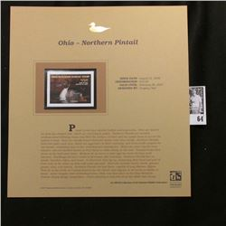 2006 Ohio Wetlands Habitat $15.00 Stamp, Pristine Mint condition in plastic page with literature