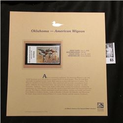 2006 Oklahoma Waterfowl $10.00 Stamp depicting American Widgeon Ducks, Pristine Mint condition in pl