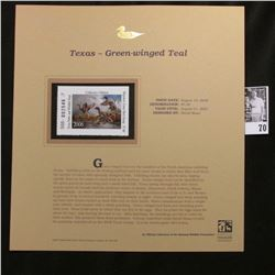 2006 Texas Parks and Wildlife Department $7.00 Stamp depicting Green-winged Teal, Pristine Mint cond