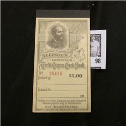 "191X era ""Allison's Improved Credit Coupon Check Book""."