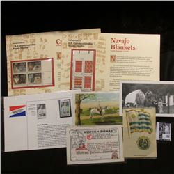 Commemorative Stamp Club .22c Knute Rockne Stamp; Navajo Blankets plateblock of .22c Stamps in cover