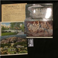 (4) Civil War related postcards; & a No. 3 War Ration Book with some coupons.