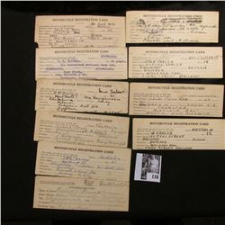 "(10) 1923 era ""Motorcycle Registration Card"" postal cards from Australia."
