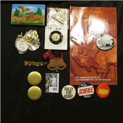 "Pin-back with Crown beneath dog; ""Iowa"" Magnet with deer and eagle; brochure of Buffalo coin; severa"