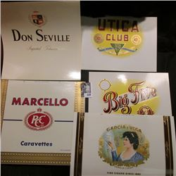 (5) Different Old Cigar Box labels in mint condition.