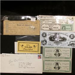 (8) pieces of funny money; & 1871 Bank Check from the Bank of America in New Orleans.