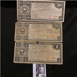 ".25c, .50c, & $5 1933 Depression Scrip ""U.S.A. State of North Carolina County of Guilford"""