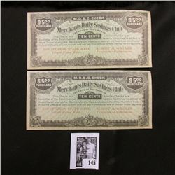 "Pair of Depression era ""M.D.S.C."" Ten Cent Scrip, Valley Falls, Kansas. ""Albert H. Schuler Furniture"