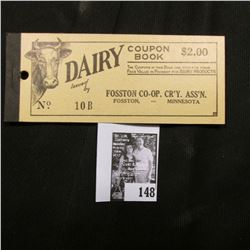 """Dairy Coupon $2.00 Book Issued by Fosston Co-op. Cr'y. Ass'n. Fosston, -Minnesota"", all coupons rem"