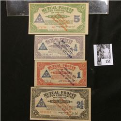 "4-piece Set Depression Scrip 1/2, 1, 2 1/2, & 5 Coupons ""Mutual-Profit Coupon Corporation New York C"
