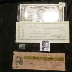 "1877 Bank of America Check from New Orleans, La.; 1881 Pennichuck Water Works, Dr. receipt; & ""Charl"