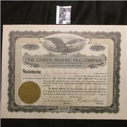 "1911 Stock Certificate Share Number 85 ""The Canton Roofing Tile Company"", Sparta, Ohio. Eagle c., se"