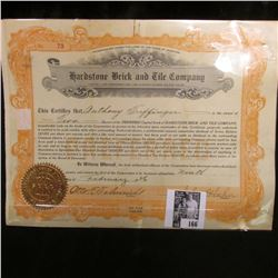 "1926 Stock Certificate Share No. 73 for 2 Shares ""Hardstone Brick and Tile Company"", Missouri. Doesn"