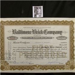 "1955 Stock Certificate Share No. B1743 for 4 Shares ""Baltimore Brick Company"", Baltimore, Md. Hole c"