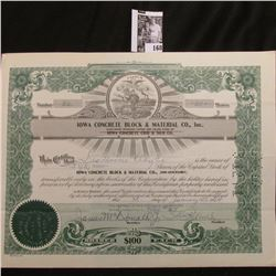 "1964 Stock Certificate Share no. 32 for 50 Shares of ""Iowa Concrete Block & Material Co., Inc."", Sta"