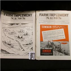 "(6) Different 1939 Issues of ""Farm Implement News"" Magazines. Some foxing on edges."
