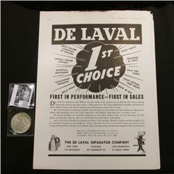 """De Laval 1st Choice…The De Laval Separator Company…"" Full page advertisement; & 1922 P U.S. Peace S"