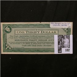 "1932 Depression Scrip ""Merchants Thrift Dollar Auction"", Chanute, Kansas. Uniface."