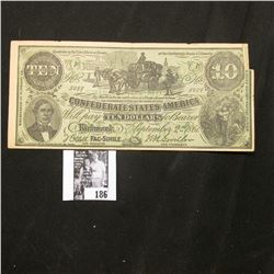 "1861 Confederate States of America Facsimile note with old Advertising ""A vote for Dr. W.F. Skelley"