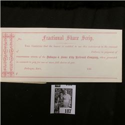 "1860 ""Fractional Share Scrip This Certifies that the bearer is entitled to use this instrument to th"