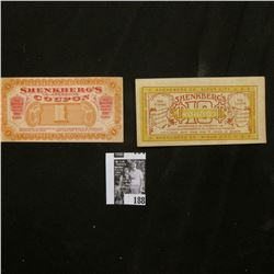 "(1910) ""Shenkberg Co. Sioux City, U.S.A."" 10c & $1 scrip, CU."