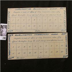 "1933 era Depression Scrip 25c & 50c ""Burlington Community Scrip"", Burlington, Iowa."