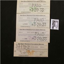"1933 $1, $5, $10, & $20 ""The Des Moines Clearing House"" Depression Scrip, Hole cancelled."