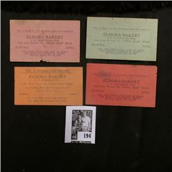 "(4) Different ""Wm. A. Rogers Silverware Eldora Bakery…Eldora, Iowa"" Scrip, ""On Card with Each Loaf o"