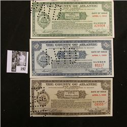 "Depression Scrip ""The County of Atlantic, New Jersey"" April 1, 1933 $1, $3 & $5. All hole canceled."