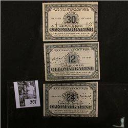 """Group of Series 1926, 1931, & 1935 """"Uncolored Oleomargarine Tax Paid"""" Stamps."""