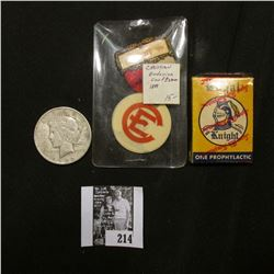 1899 Christian Endeavor Conference Pin-back from Detroit; &1922 D U.S. Peace Silver Dollar, VG; & a