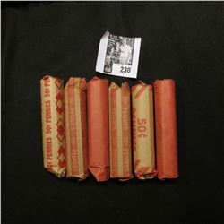 (3) Rolls of Wheat & (3) Rolls of Memorial Lincoln Cents in paper wrappers.