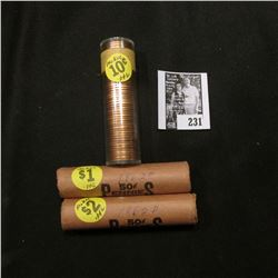 (2) 1962 D BU & 64 D BU Rolls of Memorial Lincoln Cents in paper wrappers or plastic tubes.