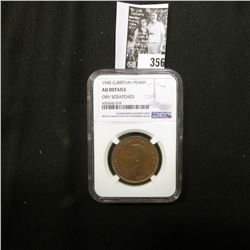 1945 Great Britain One Penny NGC slabbed AU Details Obv. Scratched.