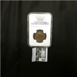 1857 Great Britain Half Penny NGC slabbed Dots on Shield AU Details Rim Damage.