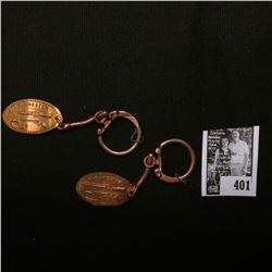 "Pair of ""Winchester"" Elongated Cent Key-rings."