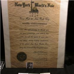 "Flyer ""New York World's Fair 1939 1940"" signed by Louis Goldmann President, Hotel Chesterfield; toke"