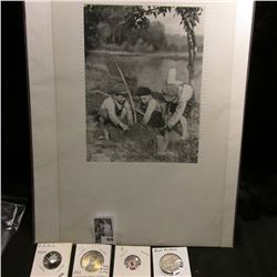 """Those were the Good Old Days"" black & white Print, depicts boys digging on river bank; 1967 Minute"