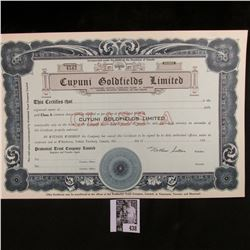 """Cuyuni Goldfields Limited"" Unissued Stock Certificate under the Laws of the Dominion of Canada."