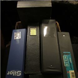 Several Three-ring Notebooks, some with plastic coin pages; Metal Lock box drawer (great for storing