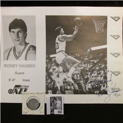 "Black and White autographed photo ""Bobby Hansen Guard 6'-6"" Iowa Utah Jazz""; & a Milwaukee Prison To"