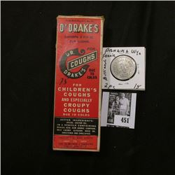 "Original box and bottle ""Dr. Drake's For Coughs Due to Colds For Children's Coughs and Especially Cr"