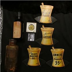 "Several Pharmaceutical Counter Signs; Old Amber Bottle with Screw Top ""Pint Poison Fluid Extract No."